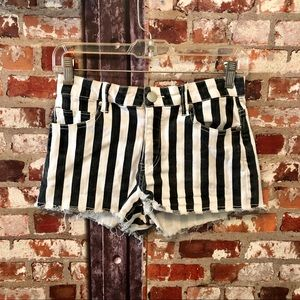 Forever 21 Black/White Striped Distressed Shorts